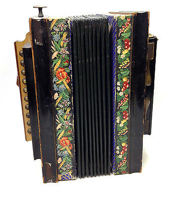 Antique 1876 Squeeze Button Box Accordion Hamburg Plays Well