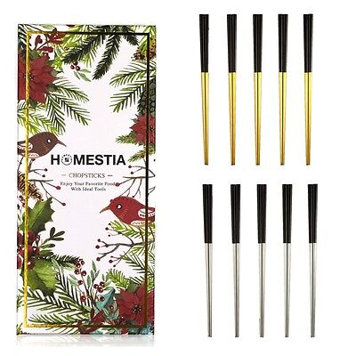 5 Pairs/Set Homestia Stainless Steel Chopsticks Tableware Gift Gold Black