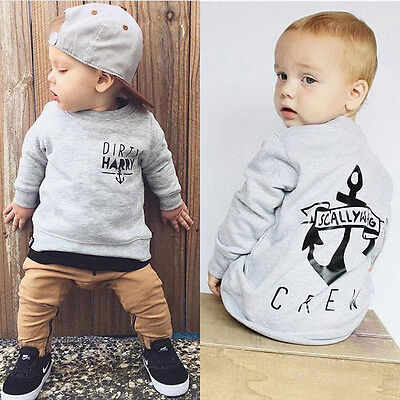 2PCS Toddler Baby Boy Anchor Long Sleeve Top+Pants Outfits Clothes Set Tracksuit