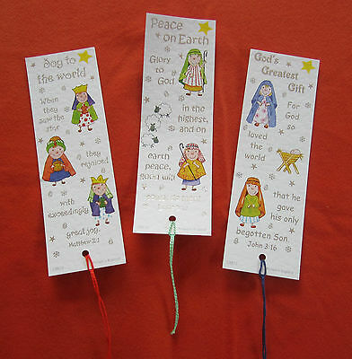 15 Nativity Christmas Bookmarks with Bible Text 3 designs EB256