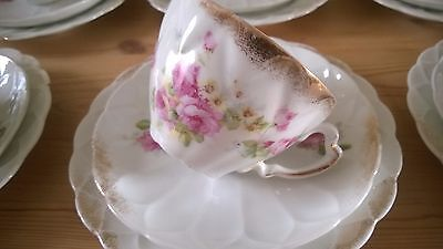 Vintage Rose And Gilt Trios, Bone China Cups,saucers And Plates