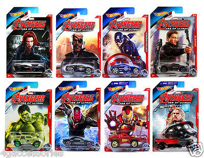 *NEW* Hot Wheels Marvel Hot Wheel Avengers Age Ultron Complete Set of 8 Cars