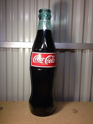 """Giant Glass 23"""" Inch Coca Cola Coke Bottle Piggy Coin Bank Thick Heavy Red Label"""