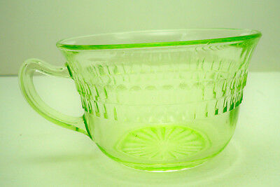 Vintage Depression Glass Roulette by Hocking Glass Green Cup 1935-39