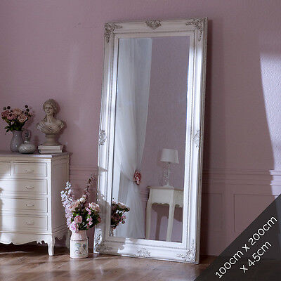 extra large ornate silver wall floor mirror shabby vintage chic vintage bedroom