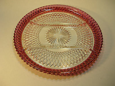 Indiana Glass Ruby Flash Diamond Point Divided Relish Tray/Serving Plate