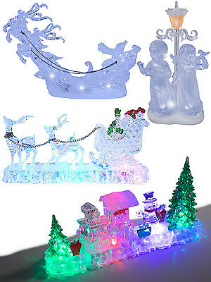Christmas Light Up Decoration Acrylic Santa Snowman LED Indoor Festive Home