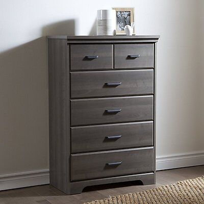 South Shore Furniture Versa 5-Drawer Chest, Gray Maple