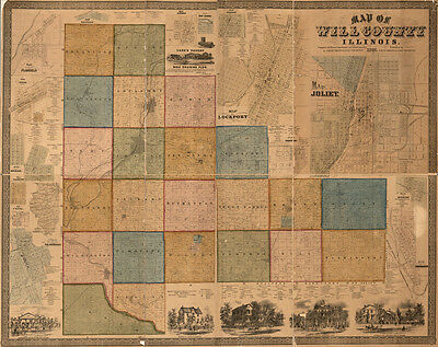 1864 Farm Line Map of Will County Illinois