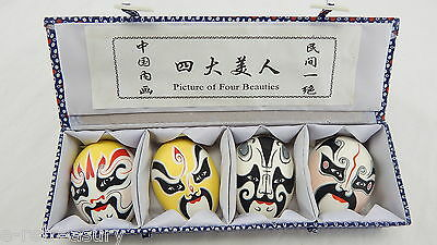 """VINTAGE CHINA OPERA """"Picture of Four Beauties"""" Hand Painted Egg Shell MASKS"""