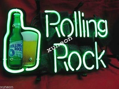 """14""""X10"""" ROLLING ROCK Breweriana Real Neon Sign Beer Bar Light FAST FREE SHIPPING"""