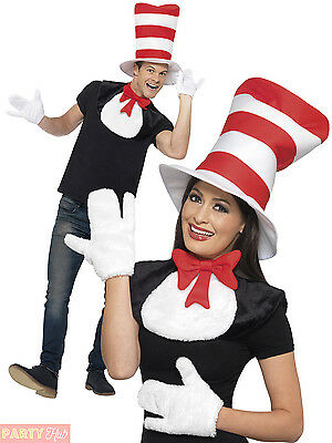 Adults Cat in the Hat Kit Mens Ladies Dr Seuss Fancy Dress Book Week Day Outfit