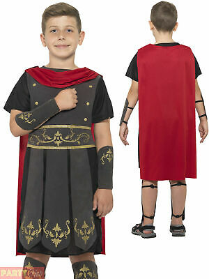 Boys Roman Soldier Costume Childs Gladiator Fancy Dress Warrior Outfit Book Week