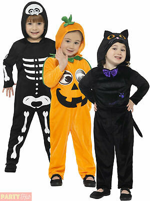 Toddler Cat Skeleton Pumpkin Costume Child Halloween Girl Boy Fancy Dress Outfit