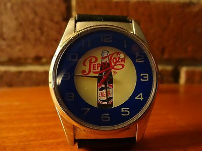 Authentic Pepsi Cola Wrist Watch with Braided Leather Band Promotional Unisex