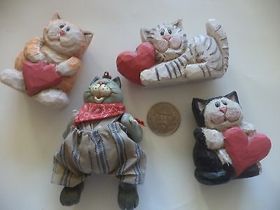 Set Of 4 Cat Figurines, 3 With Hearts And 1 Barn Cat With Moveable Limbs