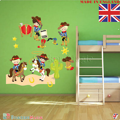 Cowboy Boys Nursery Wall Stickers Kids Bedroom Decal Decoration Vinyl Decals