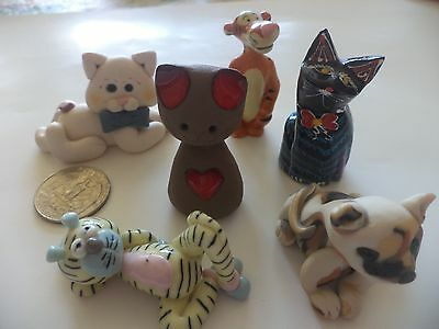 "Lot Of 6 Cat Figurines: Clay, Glass, Ceramic, Wood, Approx. 2"" Miniatures"