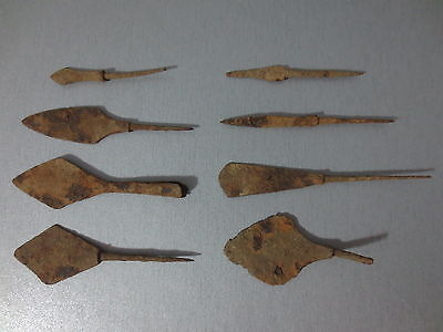 8 ORIGINAL IRON ARROWHEADS Metal Detector Find Ancient ROMAN MEDIEVAL ARTIFACTS