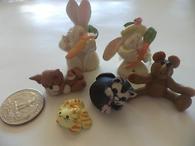 Set Of 3 Cats, 2 Bunnies, 1 Bear Small Figurines (Resin And Clay-Like)