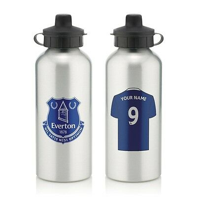 Personalised Everton Aluminium Water Bottle 600ml Silver