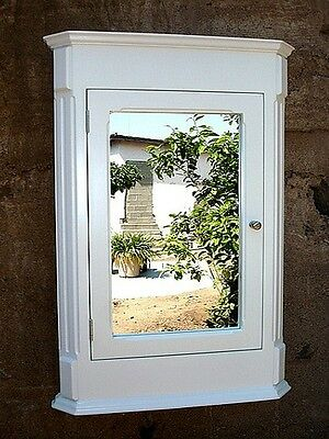"Ludwig WHITE Recessed Medicine Cabinet & Mirror /Solid Wood  "" Handmade"""