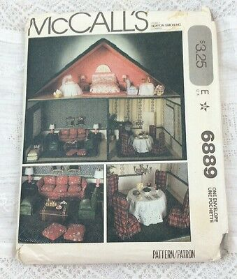 1979 UNCUT McCall's Pattern 6889 DOLL HOUSE AND FURNITURE Factory Folded