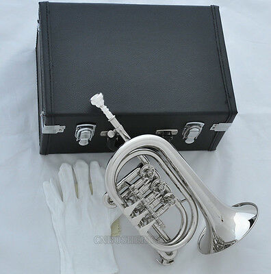 Professional Silver Nickel Rotary Valve Cornet Bb Horn With Leather case