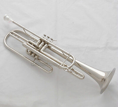 Professional Silver Nickel Bass Trumpet 3 Piston Bb Horn With Case Free Shipping