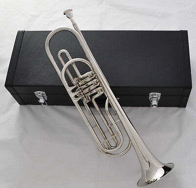 Professional Brand New Silver Nickel Rotary Bass Trumpet Bb Keys Horn With Case