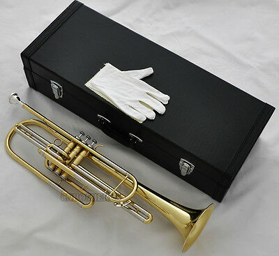 Professional New Gold Bass Trumpet 3 Piston Bb Horn With Case Free Shipping
