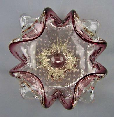 ART GLASS - Purple Crested Crystal Deeply Fluted Bowl with Controlled Bubbles