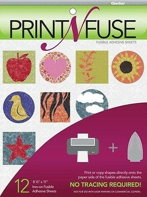 12 Print N Fuse Printable Fusible Paper Backed Iron-On Adhesive Sheets Inkjet