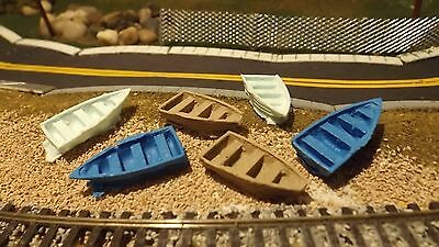 N-Scale 6 Unfinished Waterline Row Boats 1:160 Model Train Detail Parts