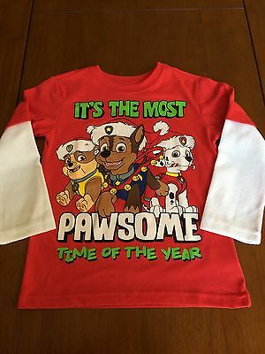 Paw Patrol Christmas long sleeve tee toddler boys with Marshall, Chase & Rubble