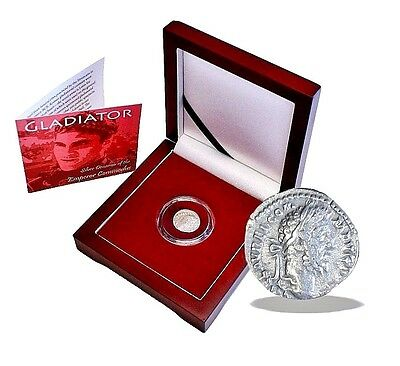 Gladiator: Silver Denarius Coin of the Emperor Commodus,With Beautiful Wood Box
