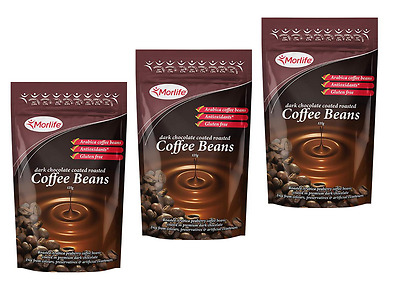 Morlife Dark Chocolate Coffee Beans 125g x3  | Healthy Snack | Gluten Free