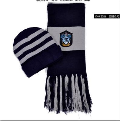 36015a444d1 Harry Potter Ravenclaw Knit Beanie Hat Cap and Scarf Deathly Hallows Costume