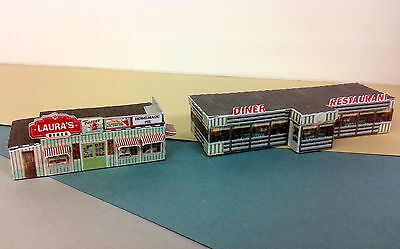 Z Scale Buildings (2) - Diner Restaurant  - Card Stock Kit
