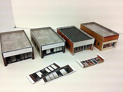 N Scale Buildings (4) - Single Storey Shops / Office  - Card Stock Kit w/signage