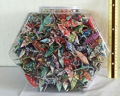 """One Thousand 1000 Hand-Made 2"""" Chiyogami Yuzen Origami Cranes in Plastic Jar"""