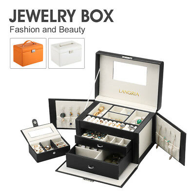 Leather Jewelry Box Storage Lockable Organizer Case Ring Earring Necklace Black