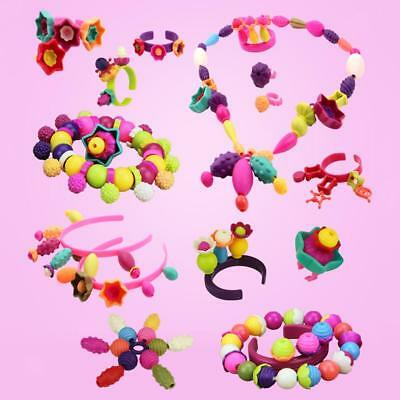 Kid DIY Stylish Pop Beads Kit Jewellery Toy Girl Game Play Gift Set 72 Pcs