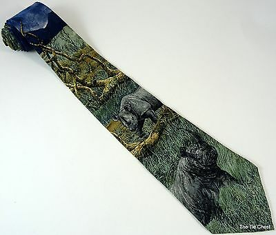 Black Rhinos Silk Tie Rhinoceros Necktie Endangered Species