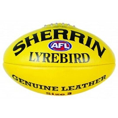 Afl Sherrin Lyrebird Yellow Leather Size 3  Football - Brand New