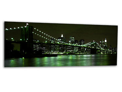 Glas-Bild Wandbild BROOKLYN BRIDGE GREEN New York AG-00915 125 x 50cm