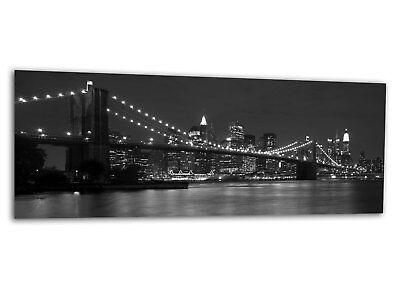 Glas-Bild Wandbild BROOKLYN BRIDGE monochrome New York AG-00917 125 x 50cm