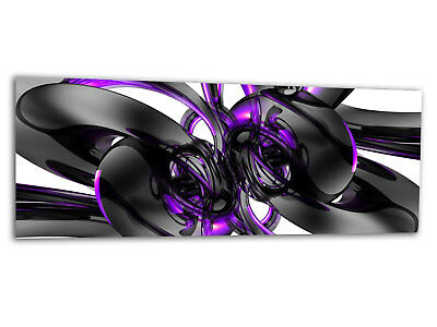 Glas-Bild Wandbild CHROME BUBBLES PURPLE AG-00924 125 x 50cm