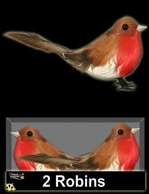 2 Artificial Christmas Xmas Feather Birds Wired Robin Tree Decoration Advent Cra