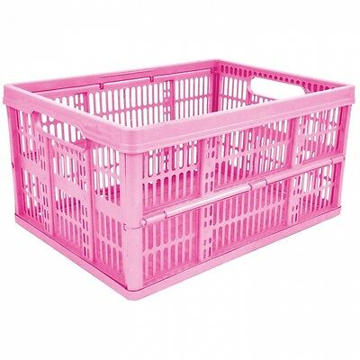 4 x 32L Plastic Folding Storage Container Basket Crate Box Stack Foldable Portab